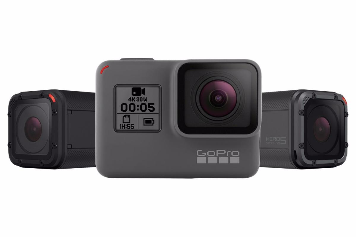 The GoPro Hero5 Black (middle), flanked by the Hero5 Session