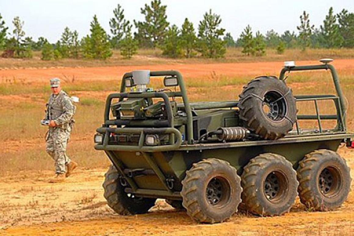 The SMSS can carry more than half a ton of warfighters' supplies, and autonomously follow the squad