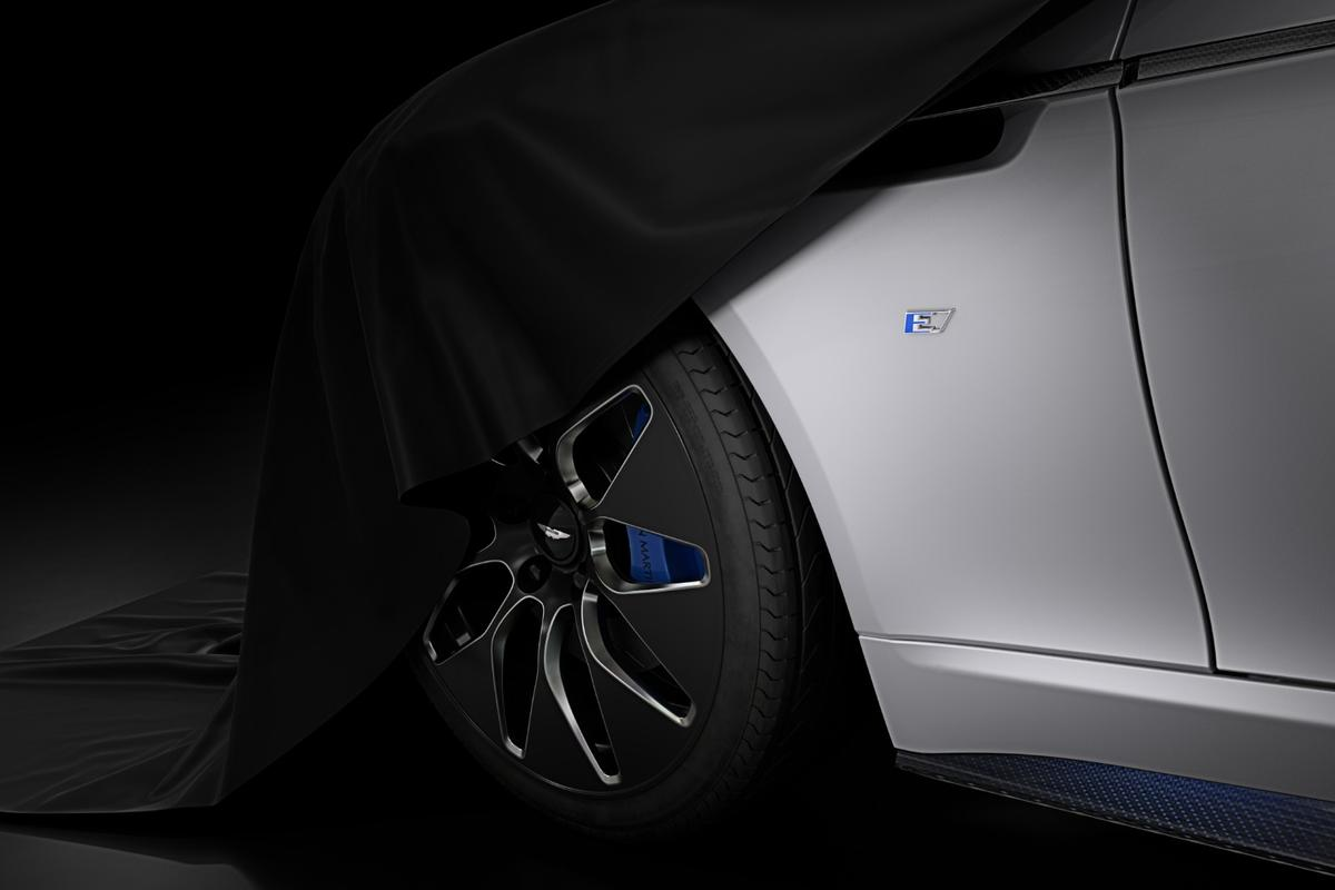 A teaser image of the upcoming Rapide E is the only visual clue that Aston Martin is revealing at this point