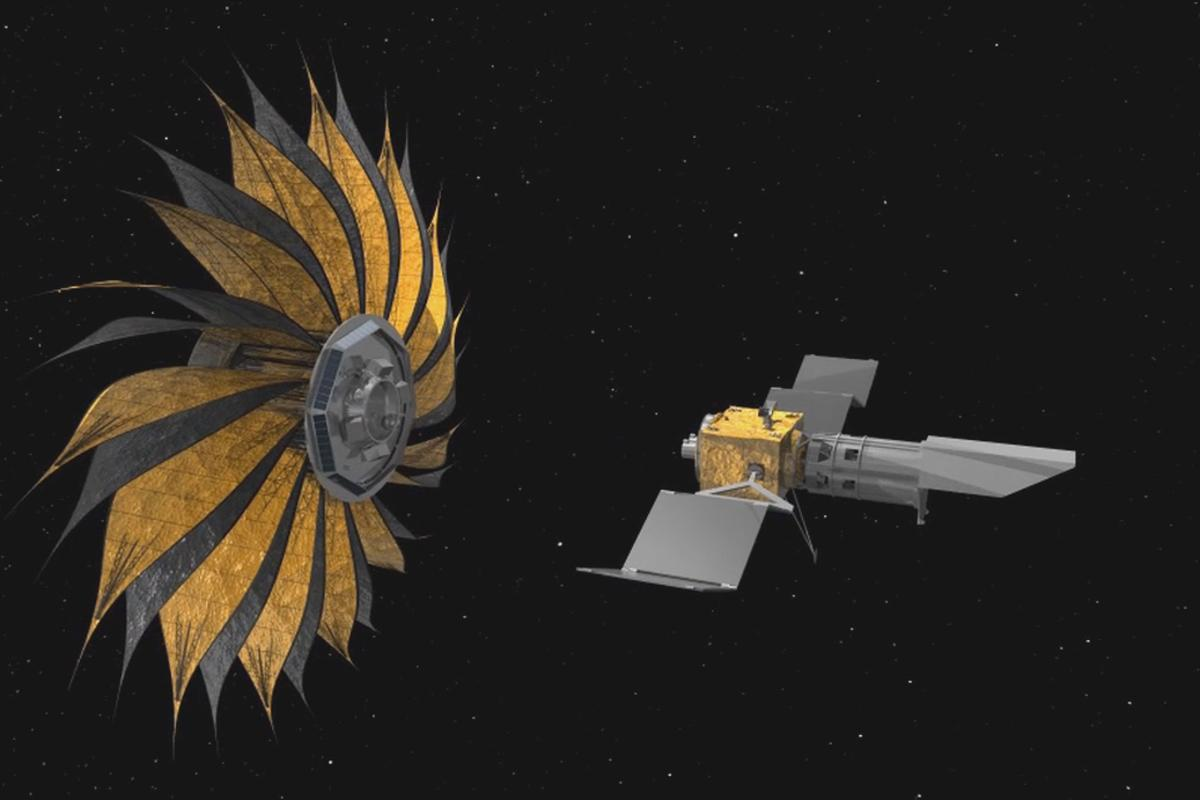 Artist's impression of the starshade unfirling