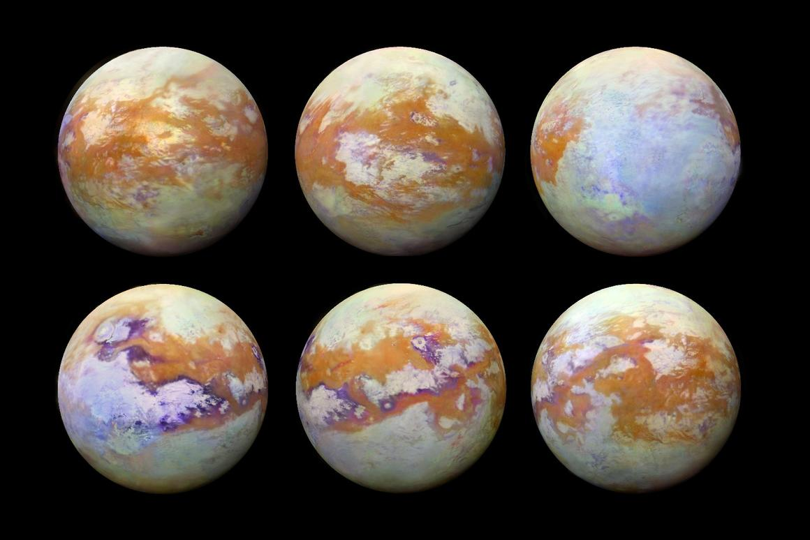 NASA has released six new infrared images of Saturn's moon Titan, which show off some of the geographic features on its surface that are normally obscured by heavy cloud cover