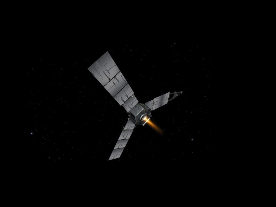 Artist's impression of Juno firing its engine (Image: NASA/Caltech)