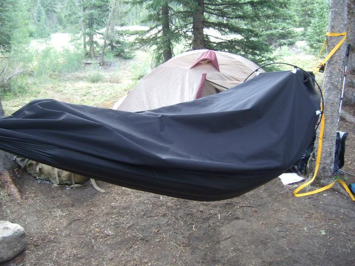 The Alpine Hammock is a lightweight, two-in-one shelter for backpacking and mountaineering