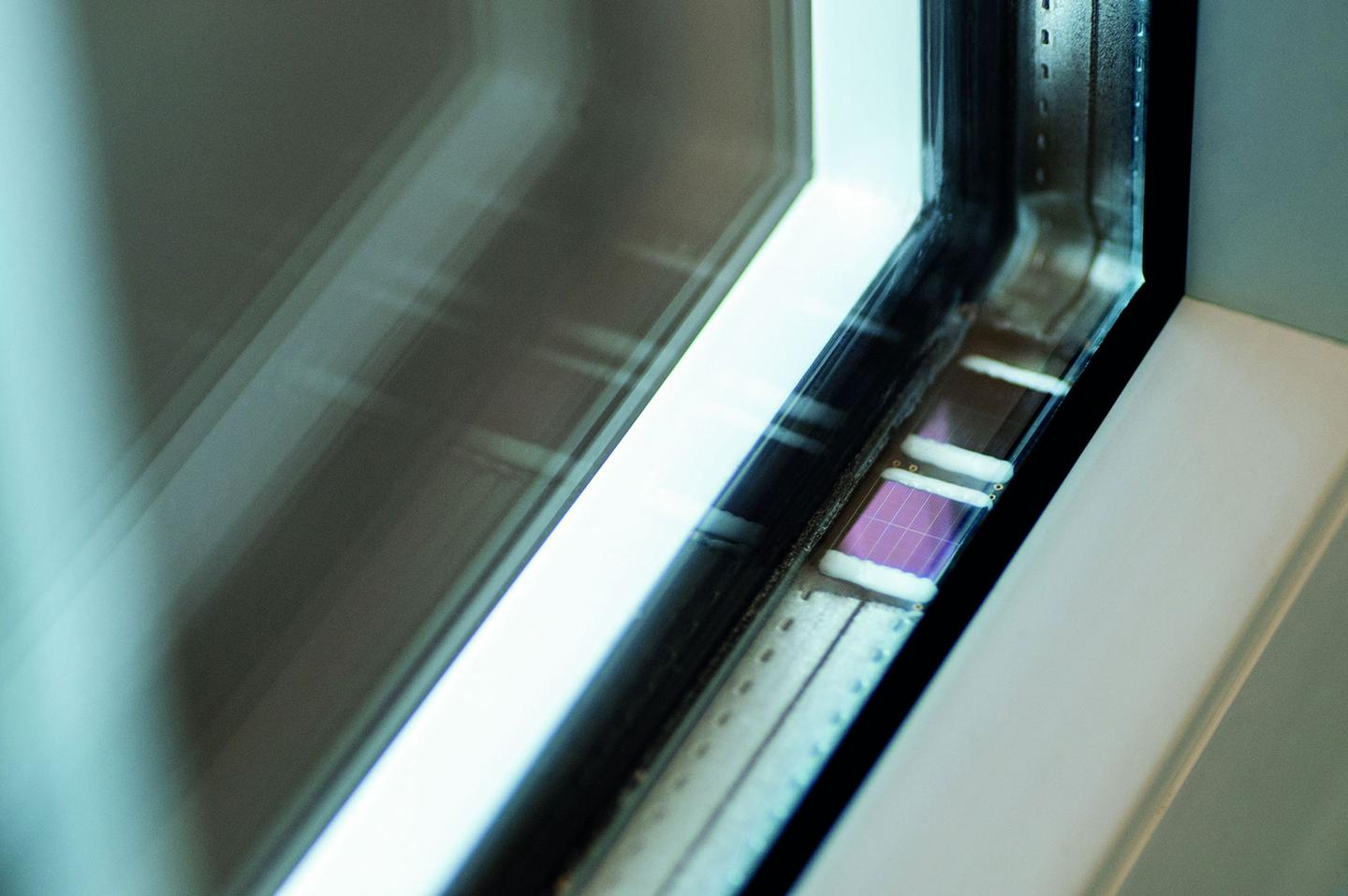 Fraunhofer's solar-powered radio sensor chip, mounted in a window