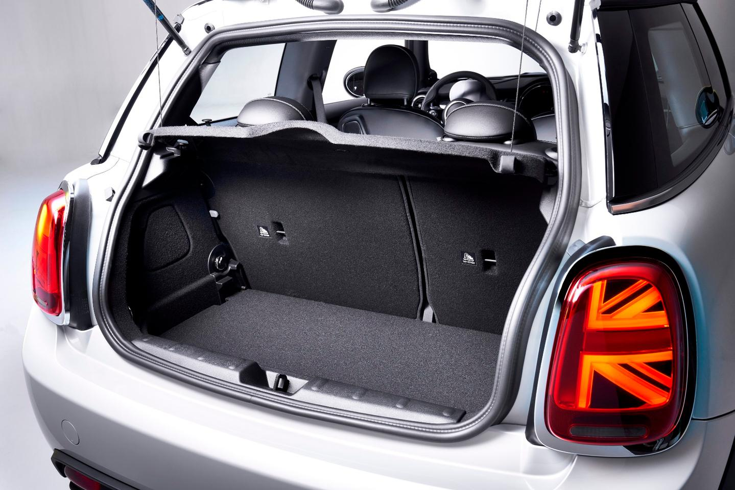 The electric Mini Cooper SE's Cooper-sized rear storage