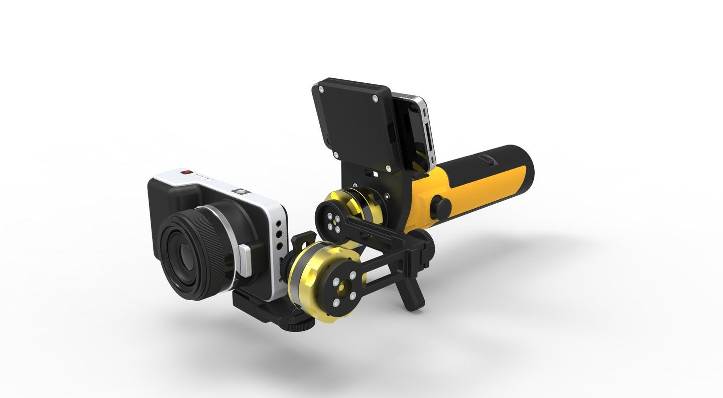 Mockup of the Gyromatic Go2X Gimbal Stabilizer for the Blackmagic Pocket Cam