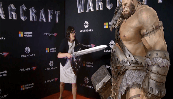 "At the Hollywood premiere of Warcraft a few months ago, moviegoers could ""meet"" Orgrim Doomhammer via HoloLens"