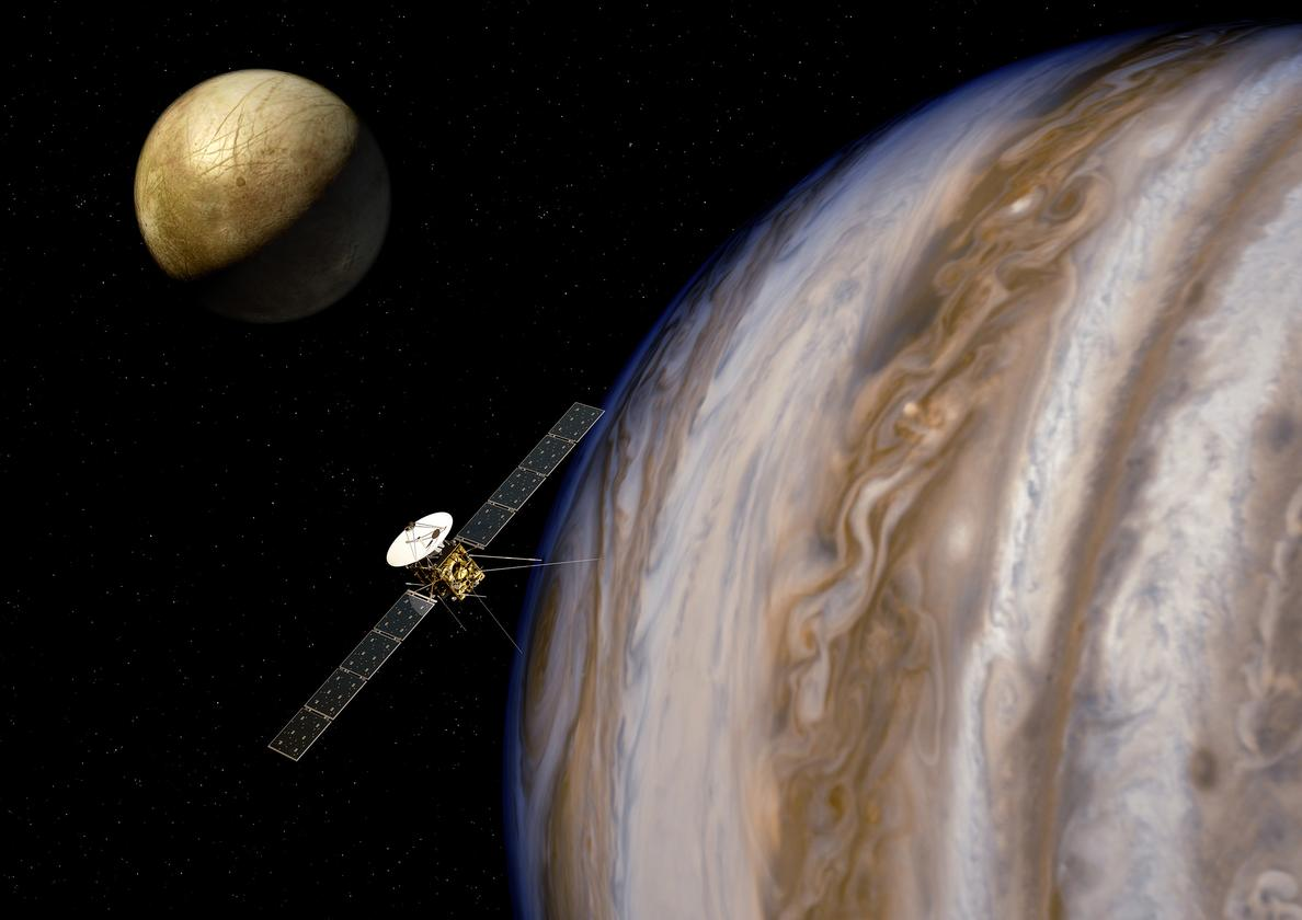 Artist's impression of the Jupiter Icy moons Explorer (JUICE) on its mission to study Jupiter's Galilean moons (Image: ESA/AOES)