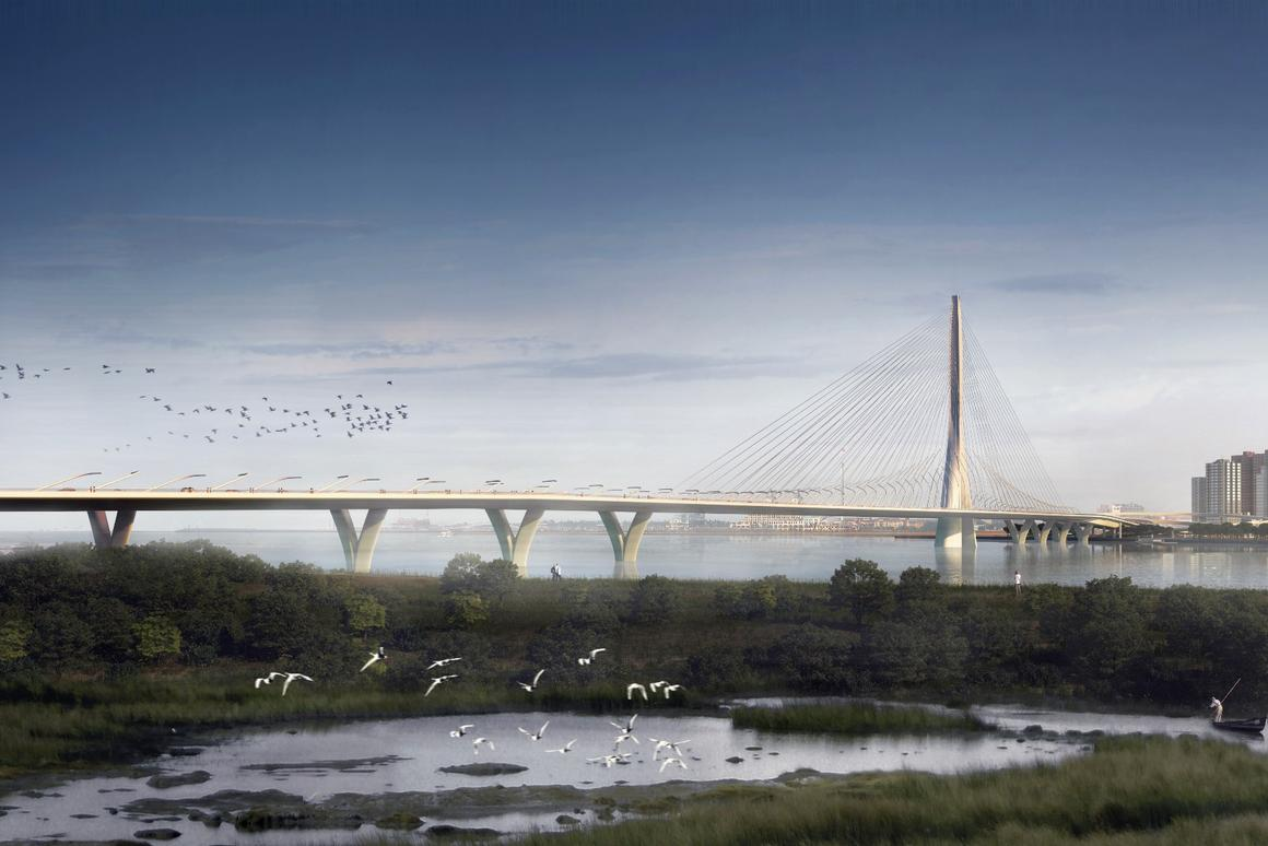 The Danjiang Bridge will span the mouth of the Tamsui River that flows through Taipei