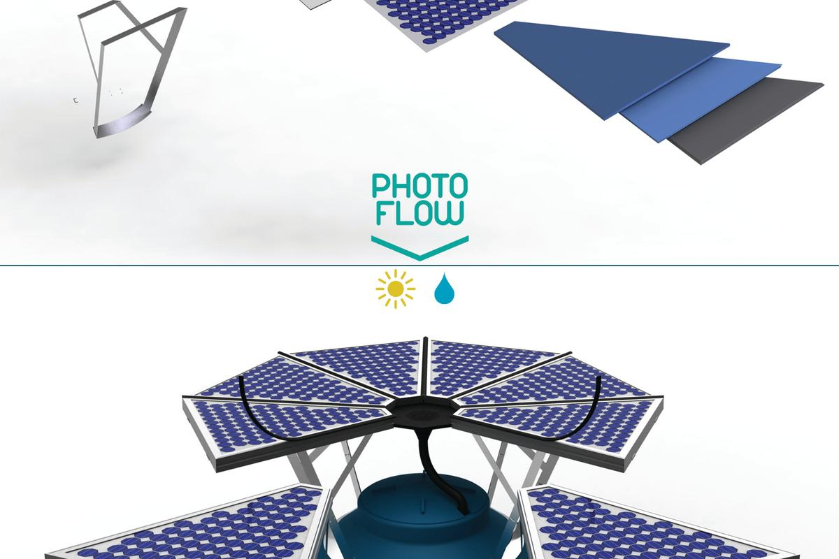 PhotoFlow is a two-in-one concept design that combines solar power generation with rainwater collection