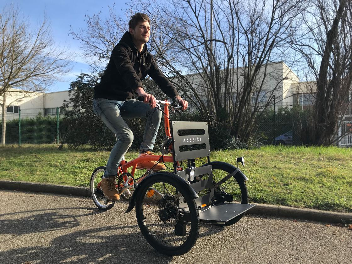 The AddBike is compatible with a variety of upright bikes