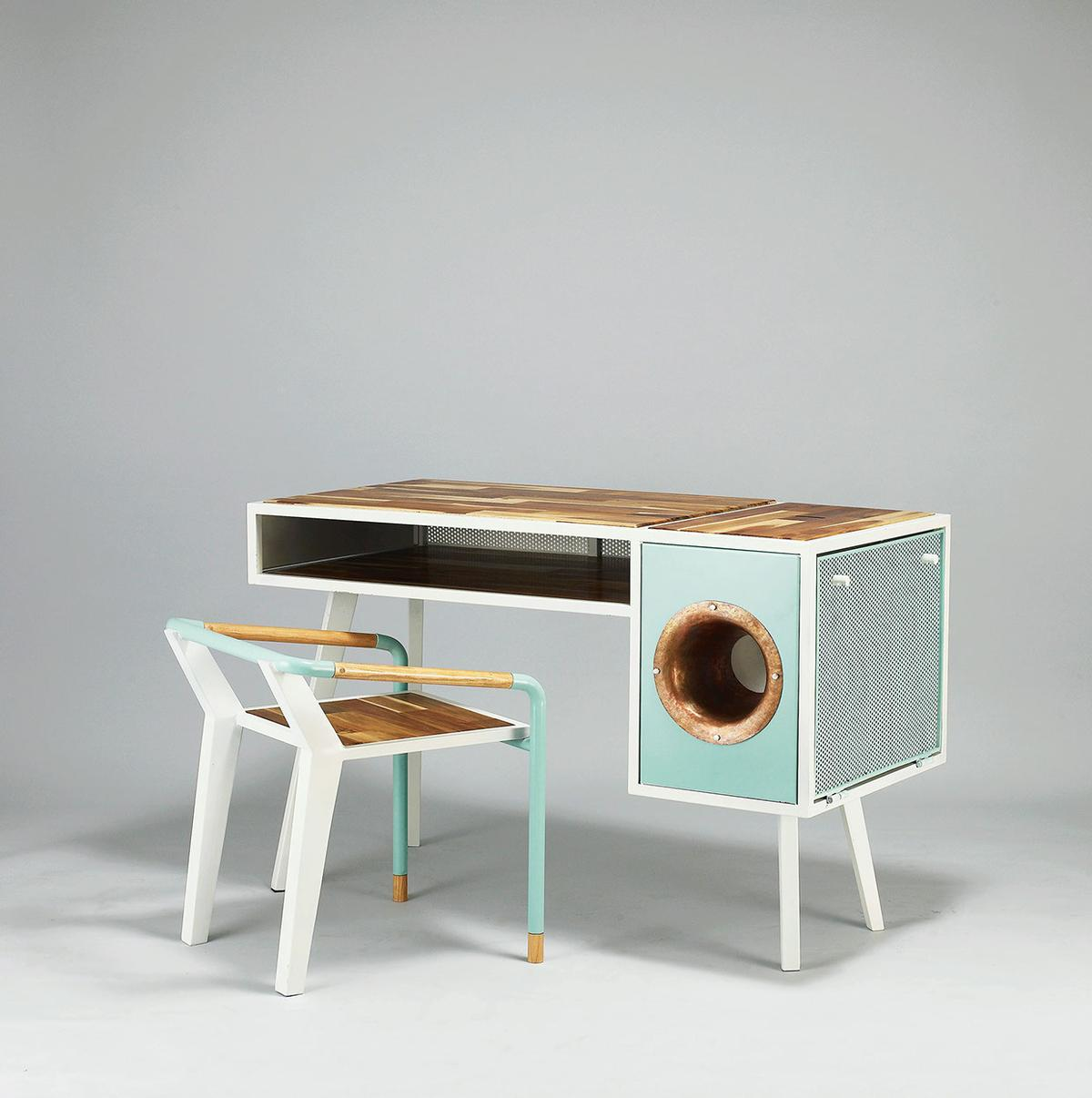 The Soundbox Desk and accompanying chair is crafted from acacia wood, copper and steel