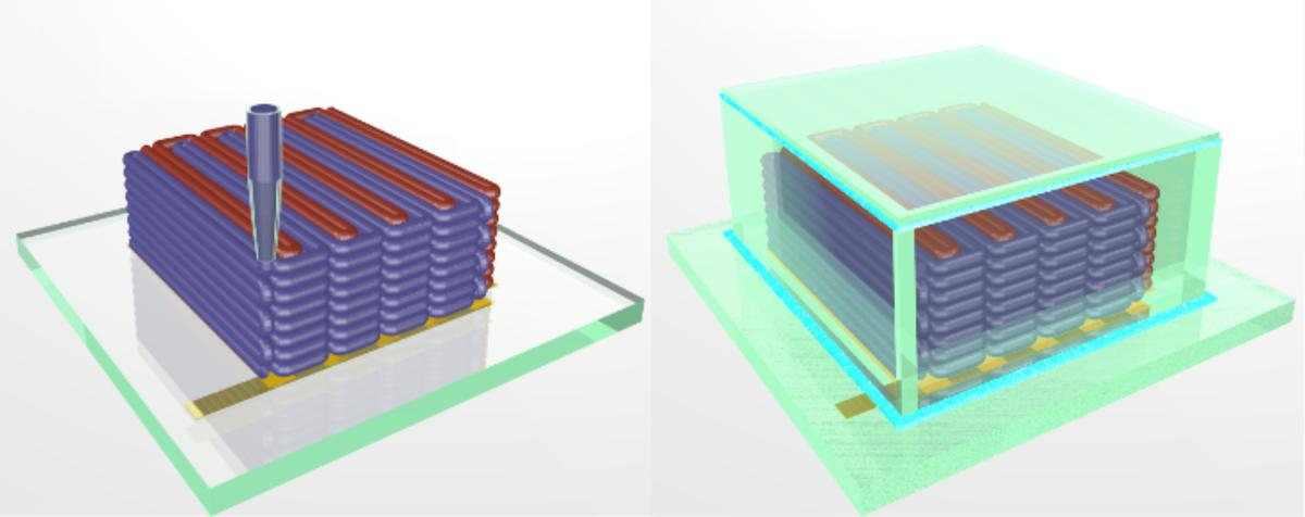 The printing process (left) and the finished encapsulated battery