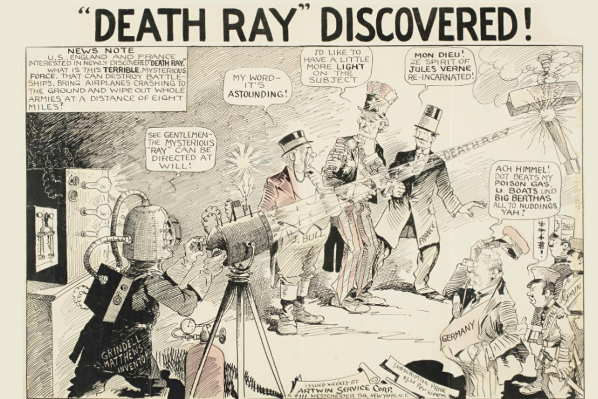 "Artwork from a 1924 newspaper cartoon illustrating the media hype around the ""death ray"", a weapon system claimed to have been invented by Harry Grindell Matthews and others (inc. Guglielmo Marconi and  Nikola Tesla)."