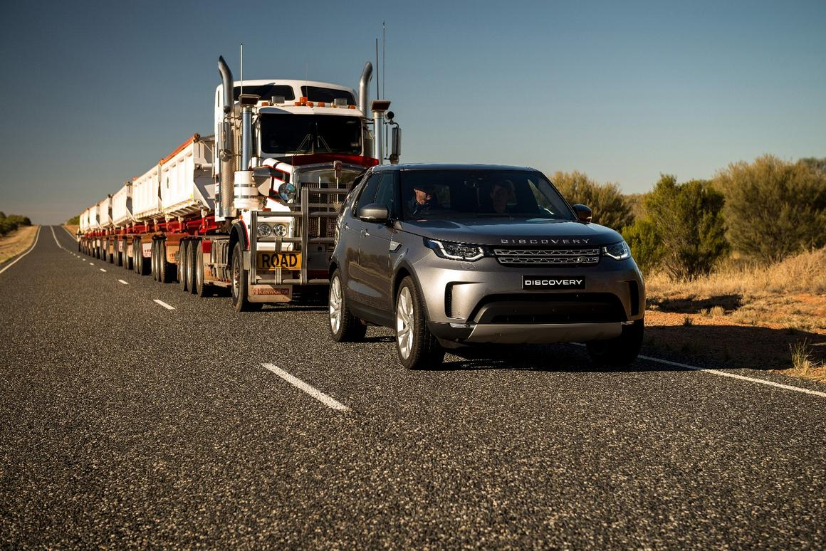 The Discovery pulled 110-tonnes of road train in Australia