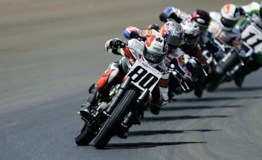 American Flat track racing is dominated by Harley. It's success is of limited relevance to road bikes though