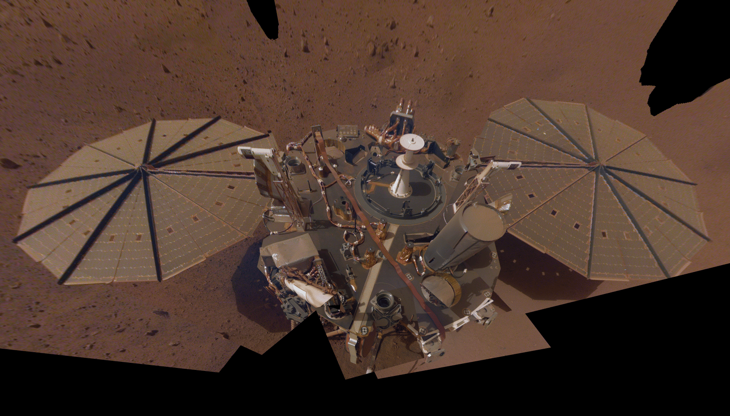 Insight's second selfie on Mars, made up of a mosaic of images taken over March and April this year