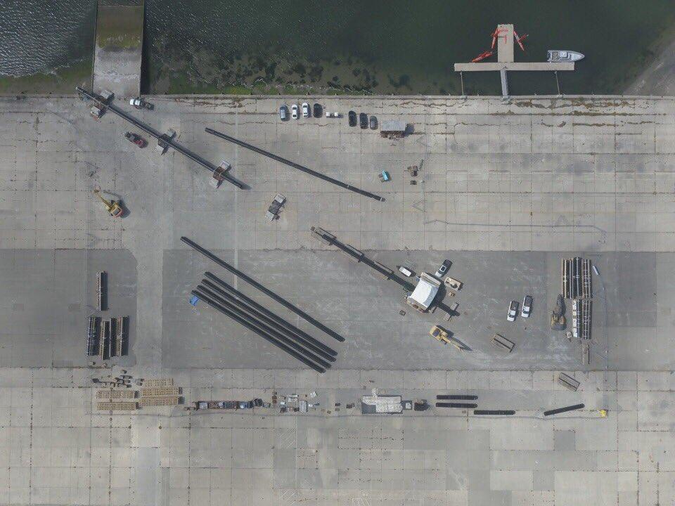Bird's eye view of the Ocean Cleanup Project's barriers undergoing assembly