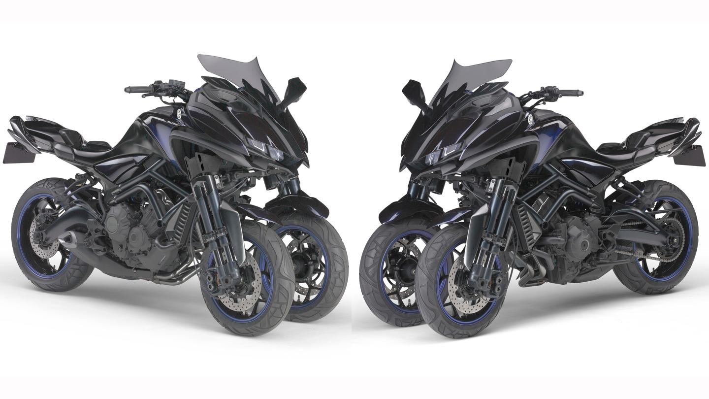 """This Leaning Multi-Wheel (LMW) concept model proposes a new type of category in the realm of sport riding. Under a development concept of a """"Cornering Master,"""" the MWT-9 mounts a 3-cylinder 850 cm3 engine on a seamless and dynamically styled body."""