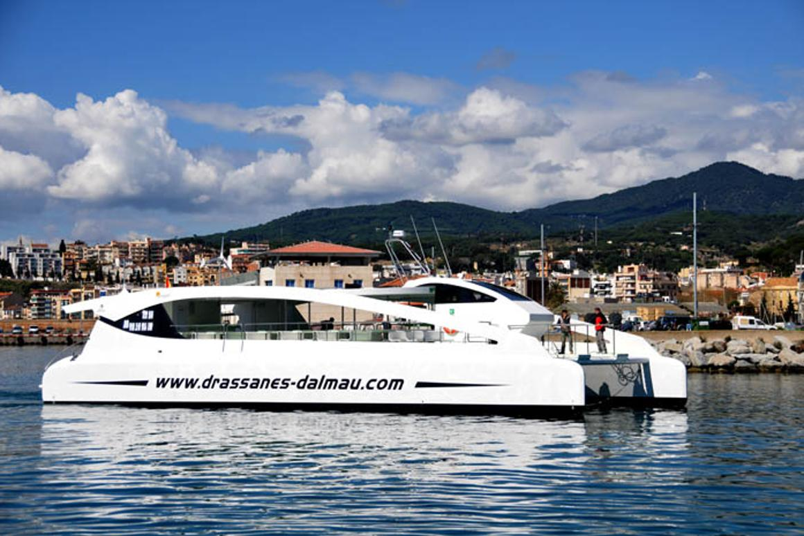 """The Eco Slim, powered by wind, solar and diesel-electric sources, is officially Europe's largest """"green"""" catamaran (Photo: Drassanes Dalmau)"""