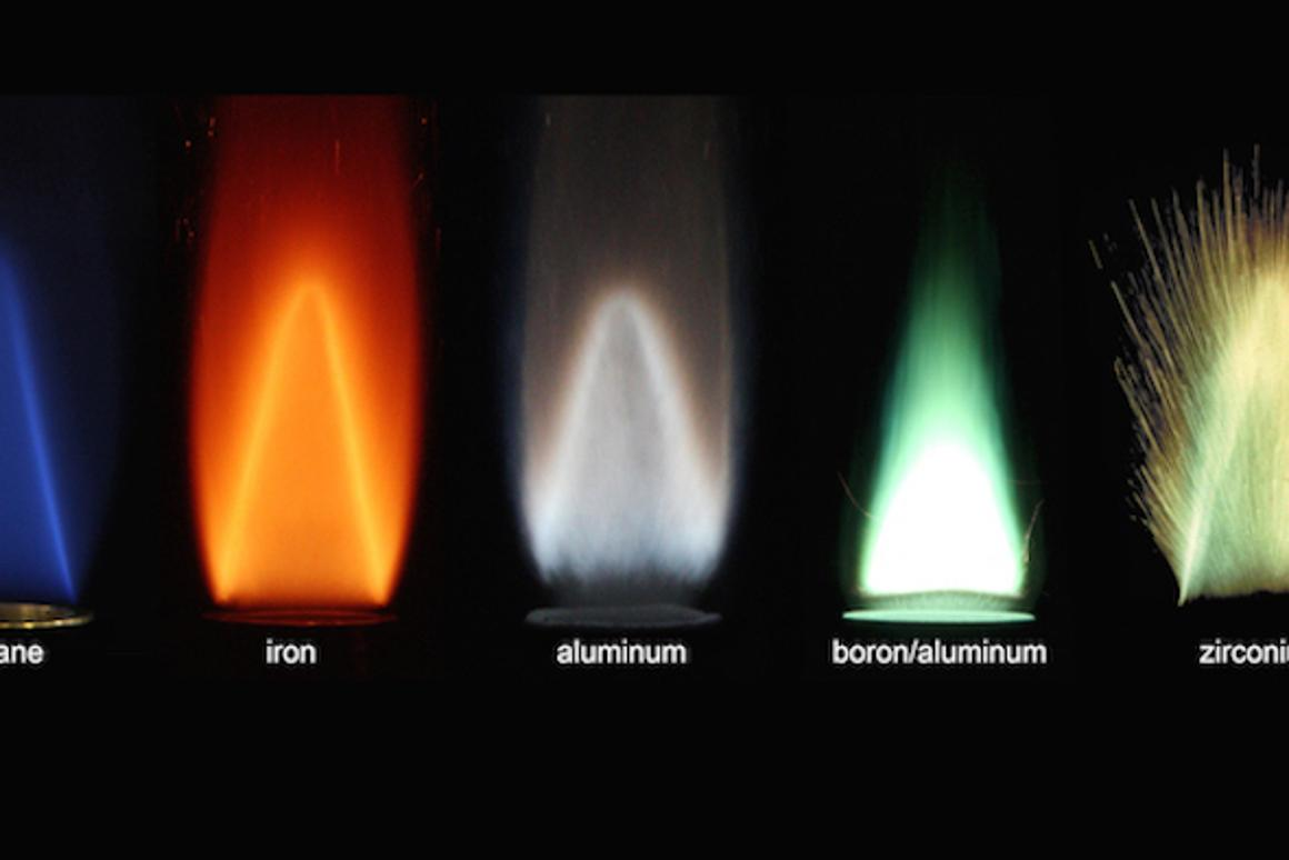 Stabilized flames of different metal powders burning with air, compared to a methane-air flame