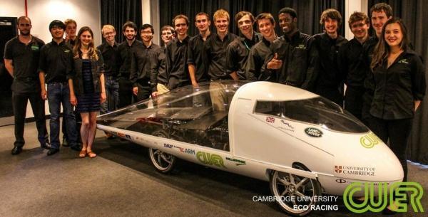 The Cambridge University Eco-Racing team gathers around Resolution
