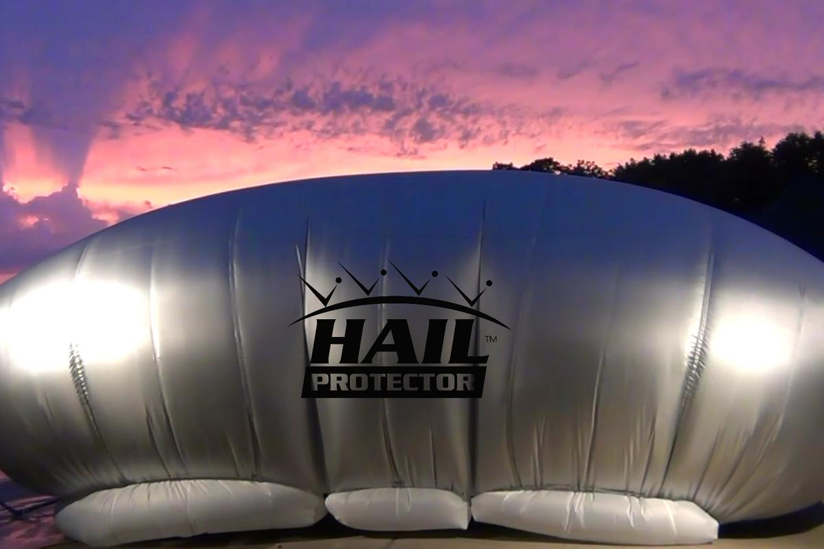 The Hail Protector inflates to protect against hail damage