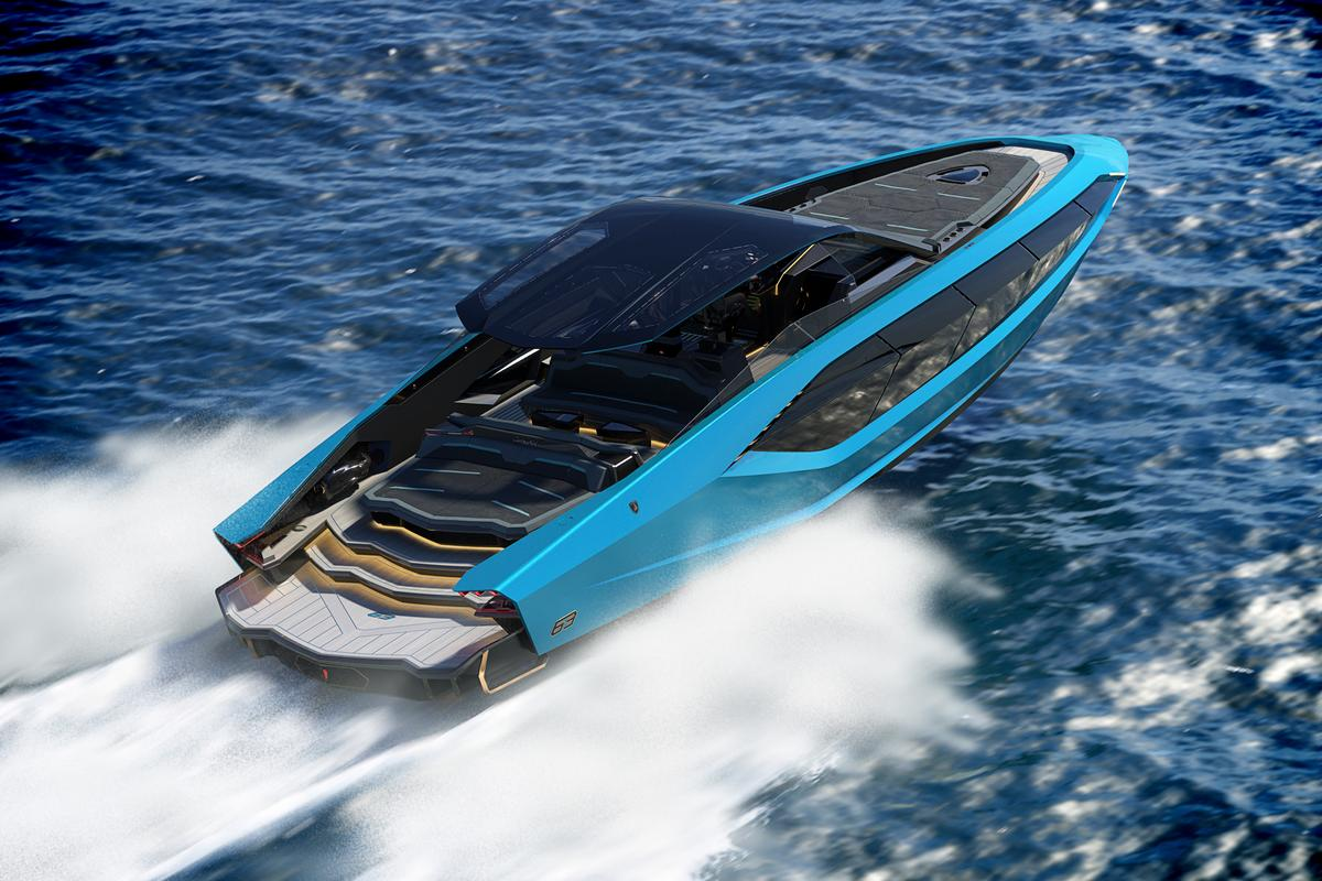 The Tecnomar for Lamborghini 63 measures 63 feet long (19.2 m) and cuts a sporty and aerodynamic figure from the outside