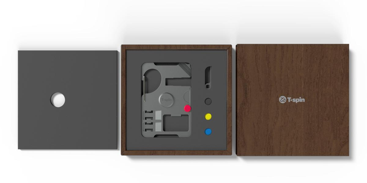 Render of the T'spin tool with packaging