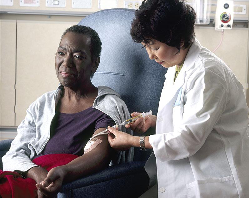 A patient receives chemotherapy