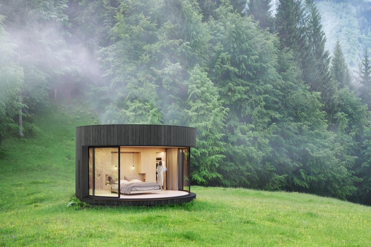 The LumiPod's generous glazing can be opened up to the outside