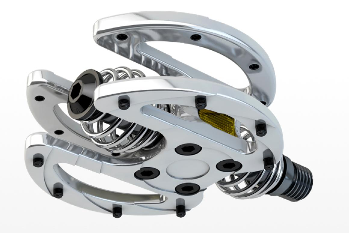 BIUS1 pedals can move in and out or twist laterally, in order to accommodate the rider's leg movements