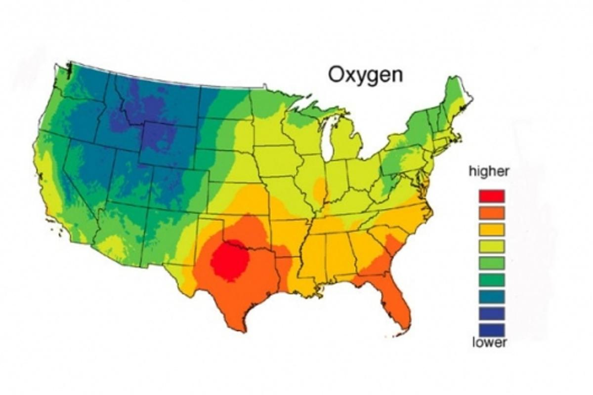 Oxygen isotope levels in human hair