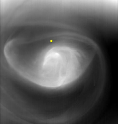Image of the Venusian atmosphere at 60km over the south pole (yellow dot) using Visible and Infrared Thermal Imaging Spectrometer (VIRTIS) on board Venus Express (Image: ESA/VIRTIS/INAF-IASF/Obs. de Paris-LESIA/University of Oxford)