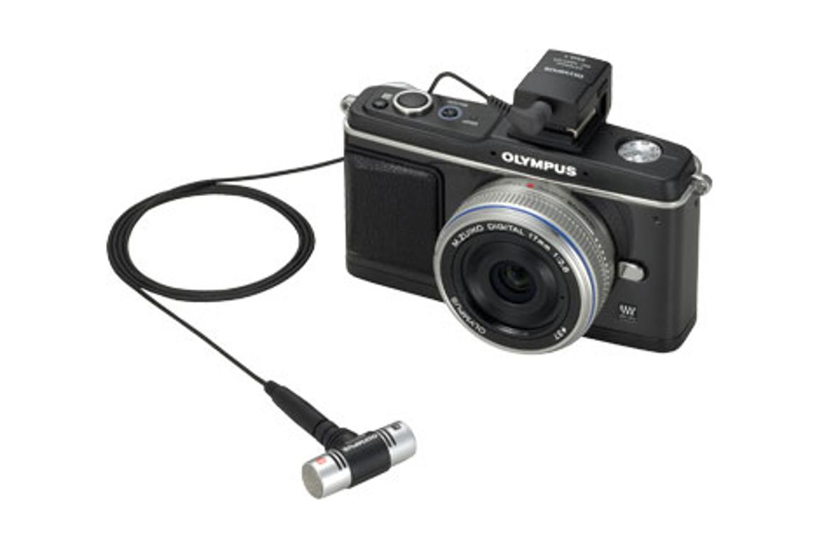 The E-P2's accessory jack can accept a stereo microphone