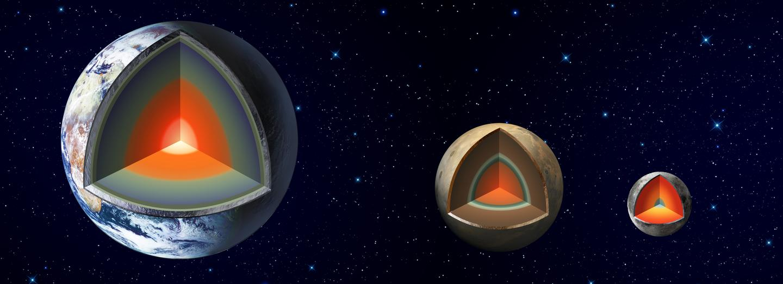 Interiors of Earth, Mars and the Moon (image: JPL/NASA)