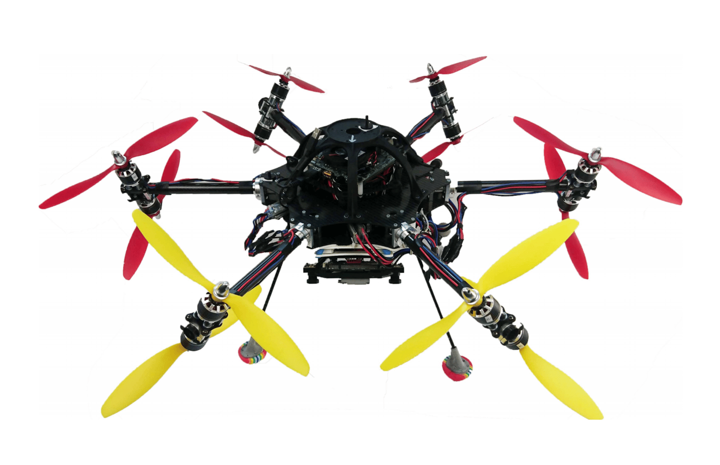 Image of the prototype system, with six 360-degree rotating arms giving this 12-rotor drone the capability to hover and fly in any orientation
