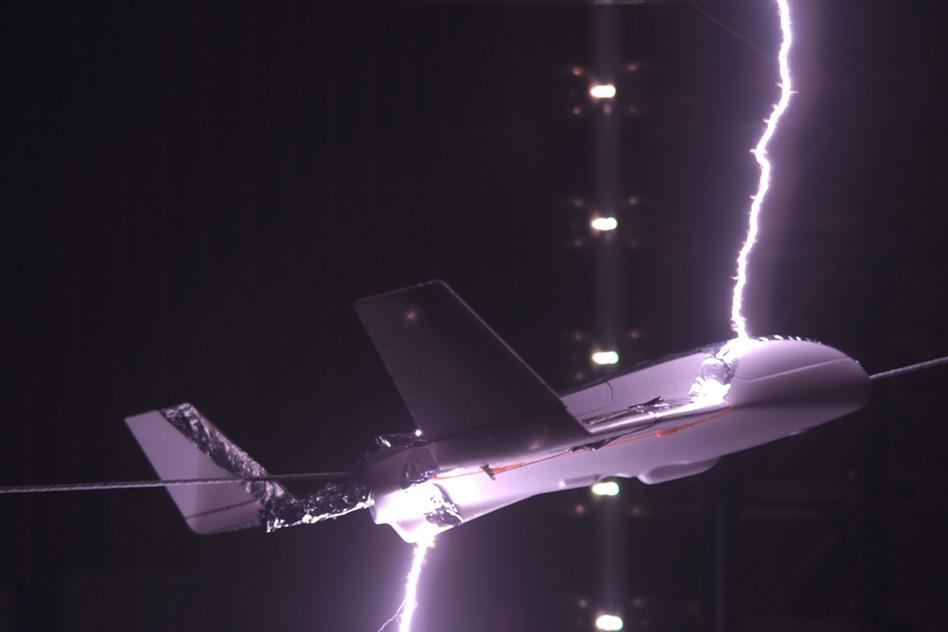 Lightning laboratory test on model aircraft