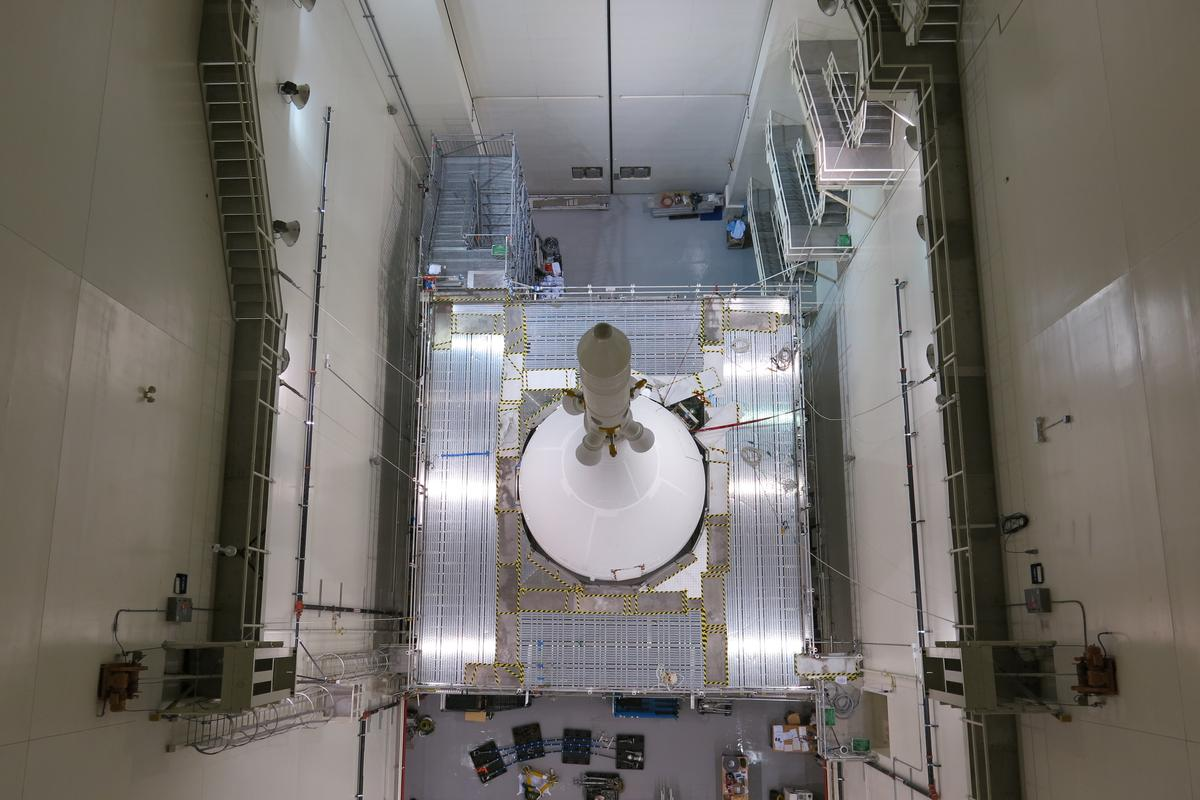The spacecraft's components have all been assembled, including the launch abort escape tower and the curved Ogive panels that make up the fairing