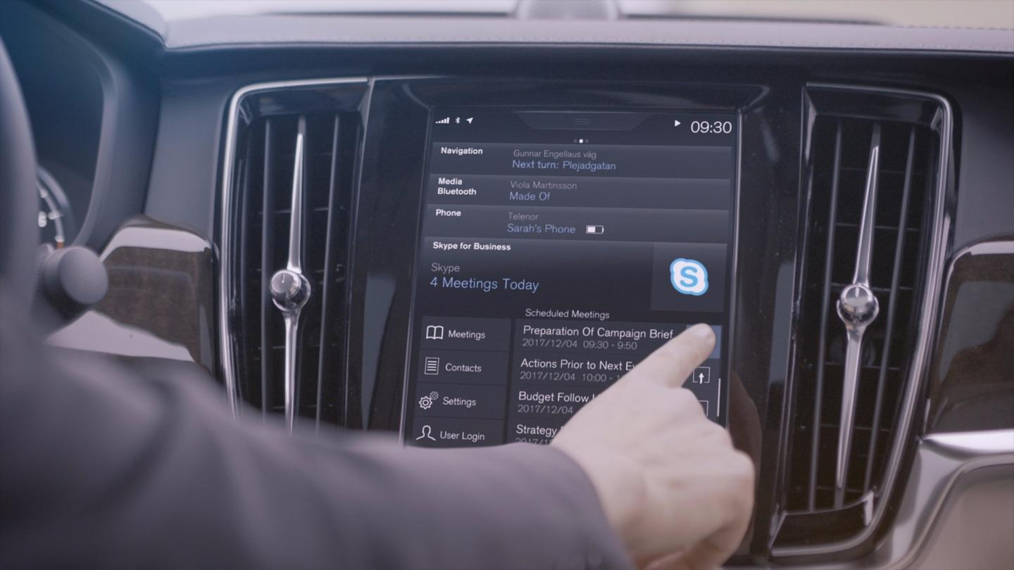 Volvo announced that Skype for Business would be available as an in-car app in its S90and other 90 Seriesvehicles starting with the 2017 model year