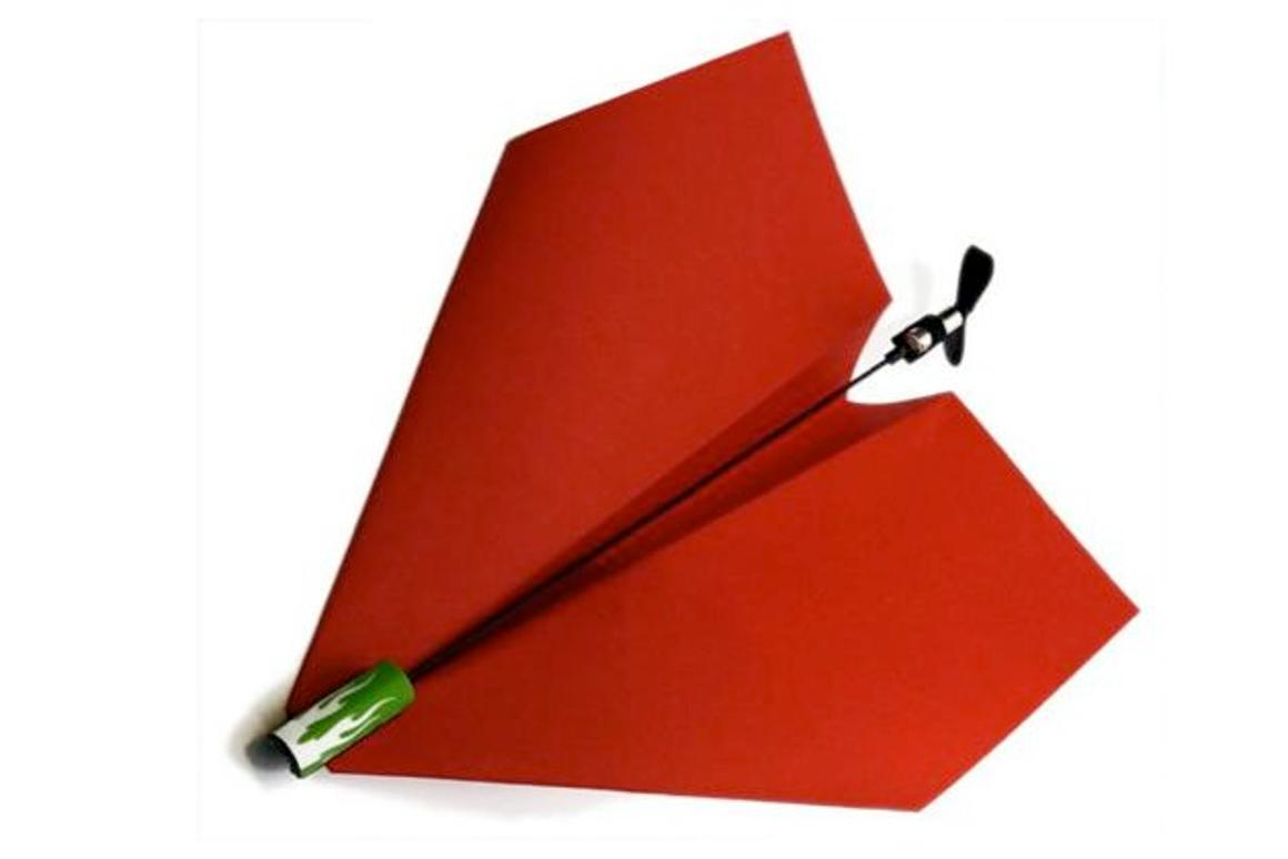 The Power Up electric power module allows users to mount an electric propeller on their paper airplanes
