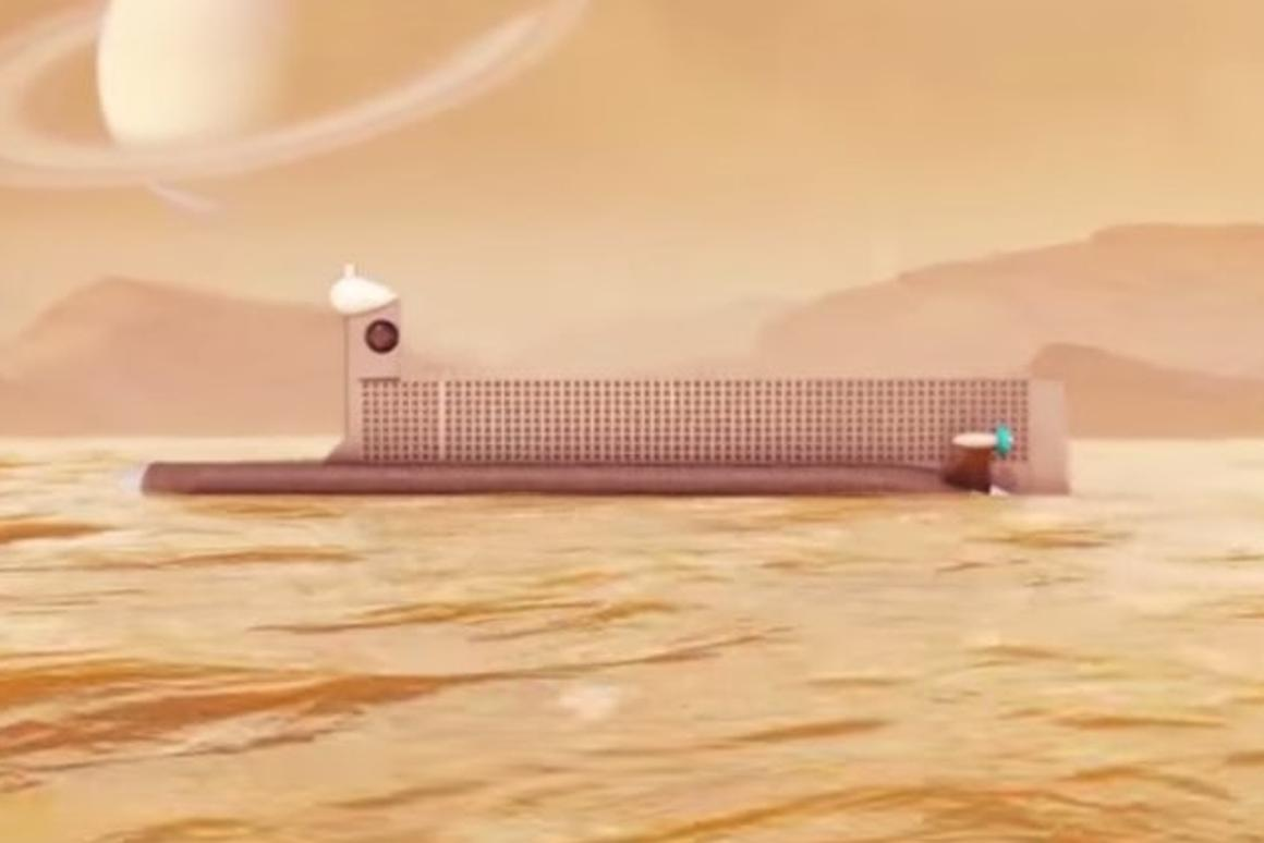An early concept for NASA'ssubmarine, which wouldexplore the liquid methane-ethane oceans of Titan
