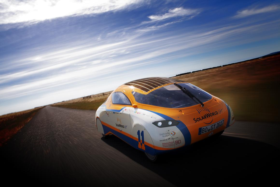 The SolarWorld GT solar-powered car is currently on a drive around the world, and embarks on the U.S. leg of its trip later this week