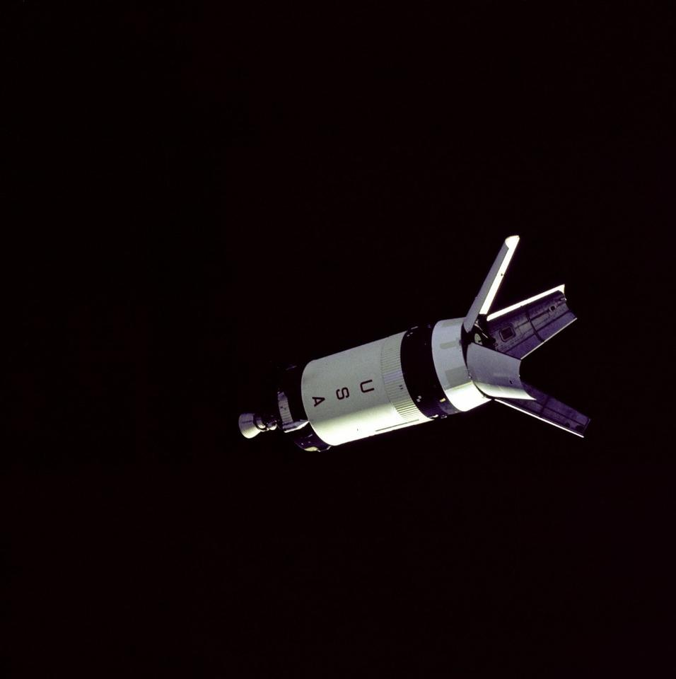 Apollo 7 S-IVB booster in darkness