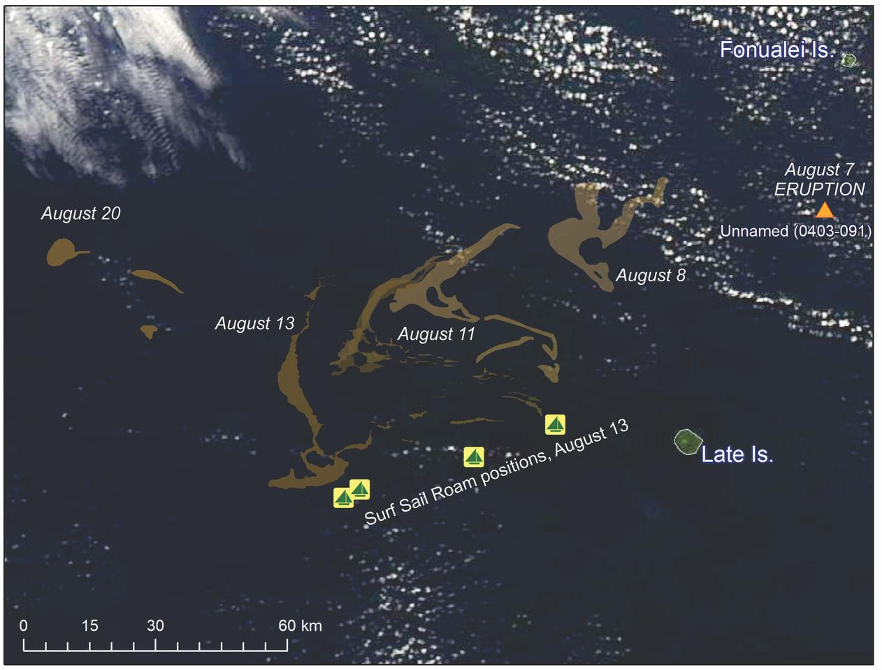 Satellite images show the journey of the pumice raft, as well as where the Surf Sail Roam catamaran encountered the rocks