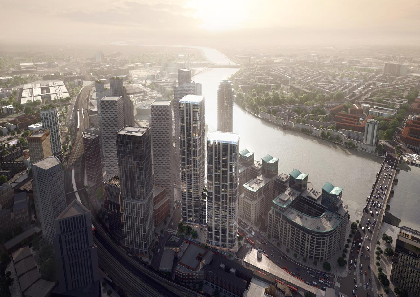 Vauxhall Cross Island will include two eye-catching skyscrapers that are defined by an interesting grid-like facade and joined by a podium building
