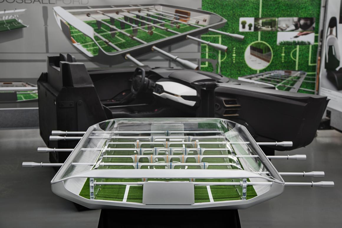 Ford imagines a foosball table that is actually a functional greenhouse with live grass on the playing field