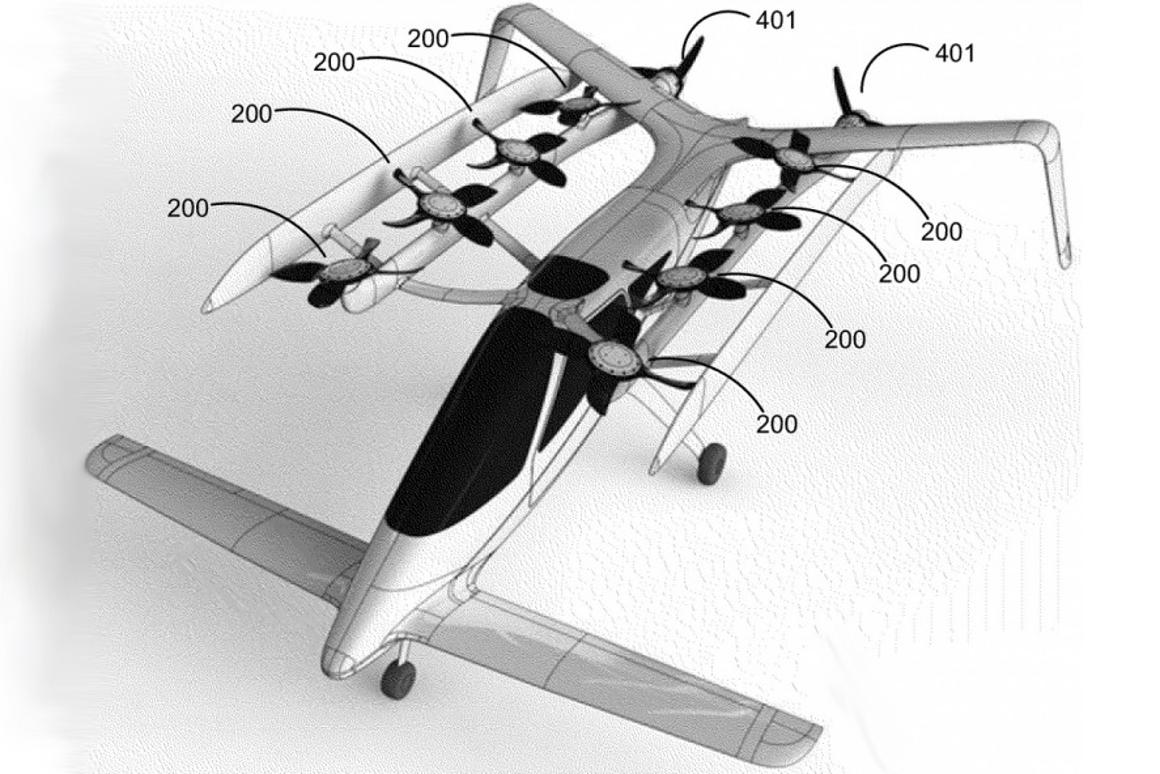 Artists drawing of the Zee.Aero concept for a vertical take-off-and-landing (VTOL) flying car