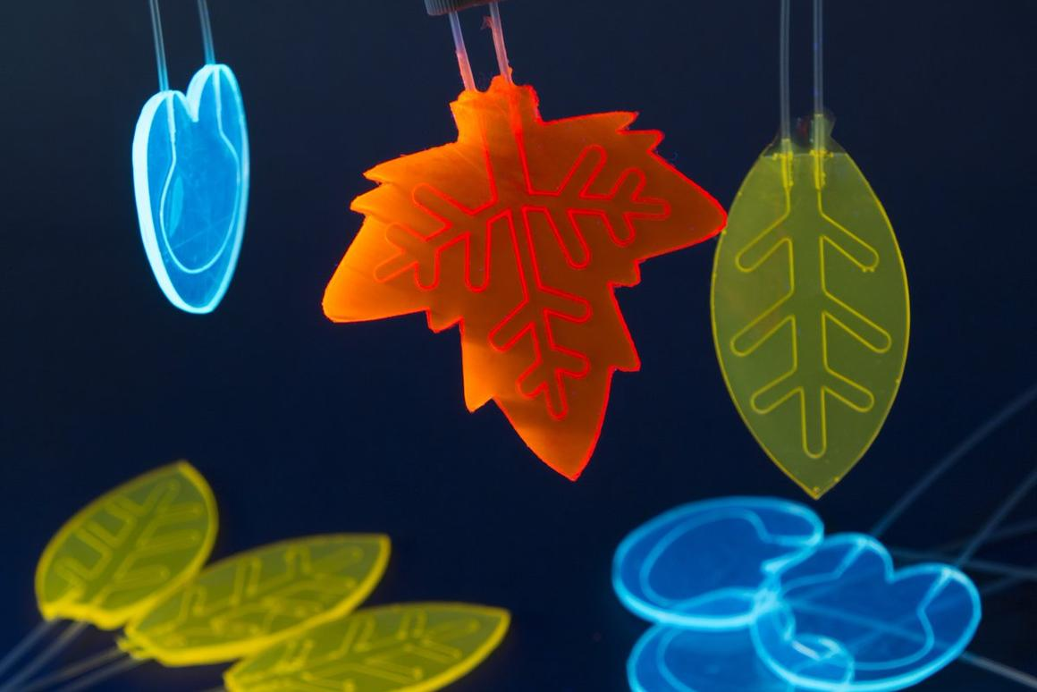 The team's artificial leaf designs, with the microfluidic channels visible inside