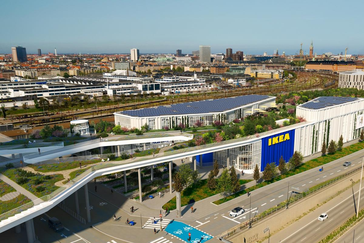 Ikea Copenhagen will feature a rooftop solar panel array measuring 1,450 sq m (roughly 15,600 sq ft)